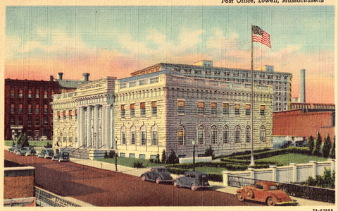 Linen postcard Post Office - Lowell,Massachusetts