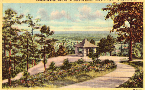 Linen postcard Southern View from Hot Springs Mountain - Hot Springs National Park - Arkansas