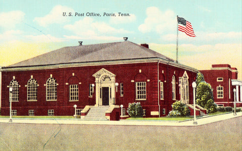 Linen postcard U.S. Post Office - Paris,Tennessee