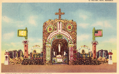 Linen postcard Front View of Grotto at Dickeyville,Wisconsin