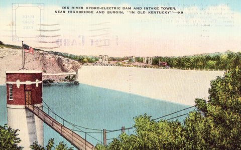 Linen postcard Dix River Hydro-Electric Dam - Kentucky