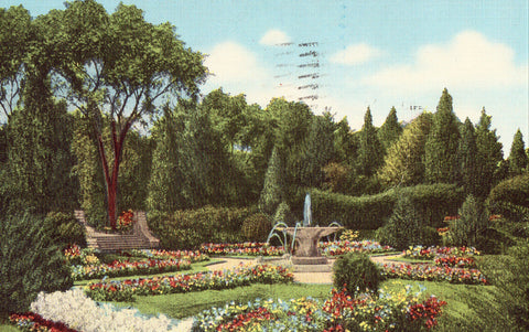 Linen postcard Garden at Mountain View Golf and Country Club - New City,New York