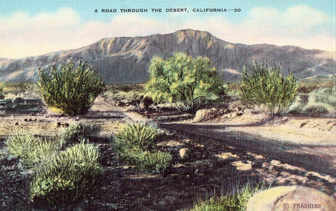 Linen Postcard A Road Through The Desert - California