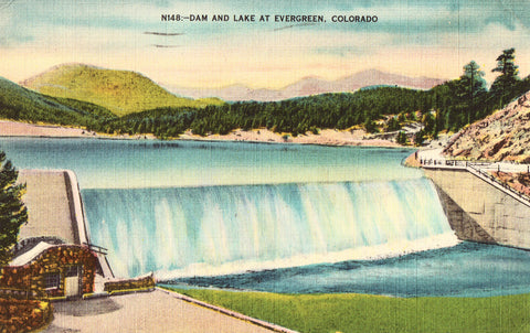Linen postcard Dam and Lake at Evergreen - Colorado