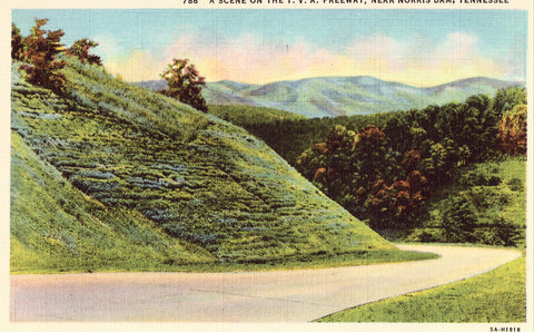 Linen postcard A Scene on The T.V.A. Freeway near Norris Dam,Tennessee