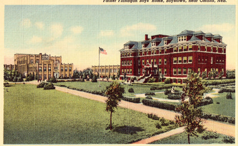 Linen postcard Father Flanagan Boys' Home,Boystown near Omaha,Nebraska