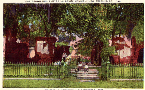 Linen post card Oak Grown Ruins of De La Ronde Mansion - New Orleans,Louisiana