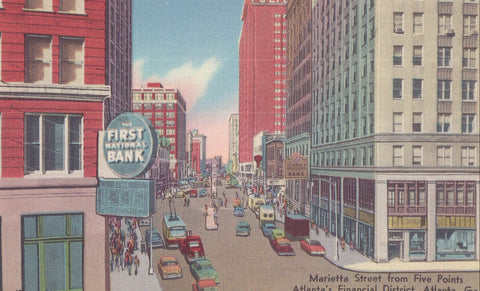 Marietta Street from Five Points-Atlanta,Georgia - Cakcollectibles - 1
