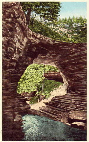Linen Postcard Natural Bridge - Waynesboro,Tennessee