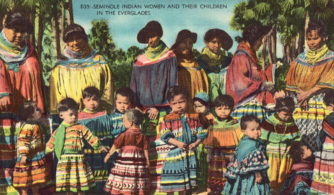 Linen postcard Seminole Indian Women and Their Children in The Everglades - Florida