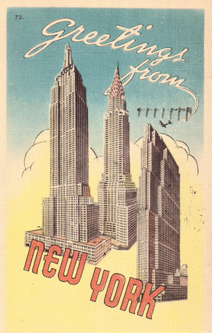 Linen Postcard - Greetings from New York City