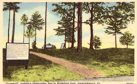 "Linen postcard ""Stonewall"" Jackson's Observation Post in Battlefield Park - Fredericksburg,Virginia"
