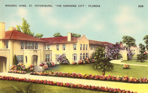 Linen postcard Masonic Home - St. Petersburg,Florida