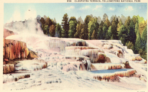Linen postcard Cleopatra Terrace - Yellowstone National Park