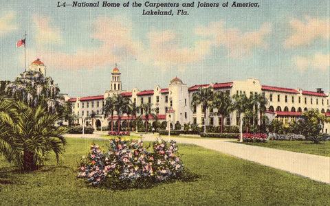 Linen postcard National Home of Carpenters and Joiners of America - Lakeland,Florida