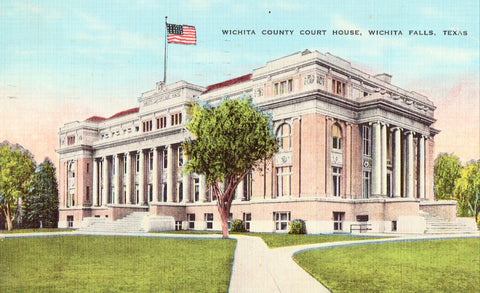 Linen postcard Wichita County Court House - Witcha Falls,Texas