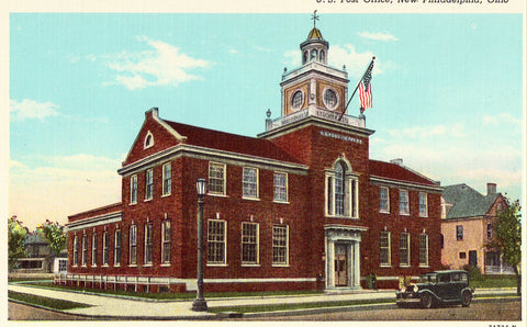 Linen postcard U.S. Post Office - New Philadelphia,Ohio