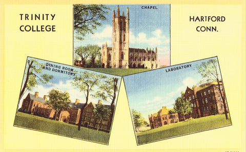 Linen postcard Trinity College - Hartford,Connecticut