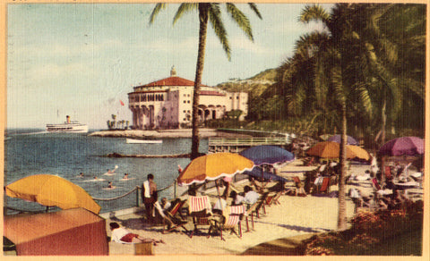 Linen postcard Descanso Beach - Santa Catalina Island,California