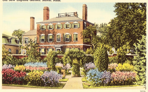 Old New England Garden - Salem,Massachusetts Linen Postcard