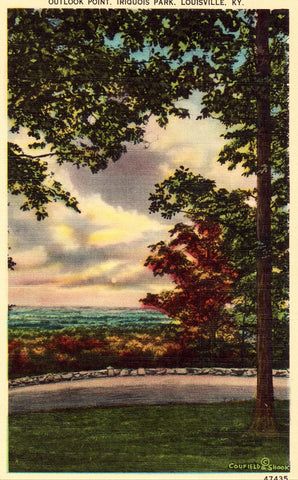 Linen postcard Outlook Point,Iriquois Park - Louisville,Kentucky