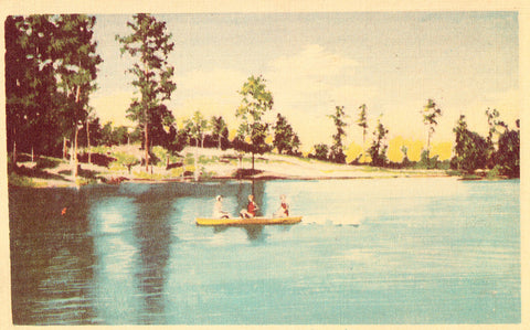 Linen postcard Lake in Woodland Park - Ruston,Louisiana