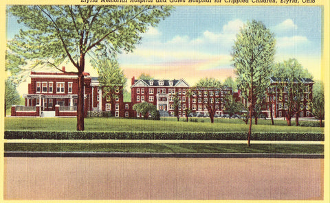 Linen postcard Elyria Memorial Hospital - Elyria,Ohio