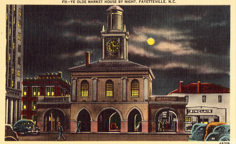 Linen Postcard Ye Olde Market House by Night - Fayetteville,North Carolina