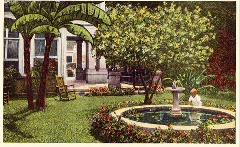 Linen postcard Courtyard View,St. John Hotel - Charleston,South Carolina