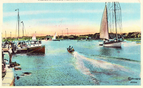 Linen postcard Falmouth Harbor - Falmouth,Cape Cod,Massachusetts