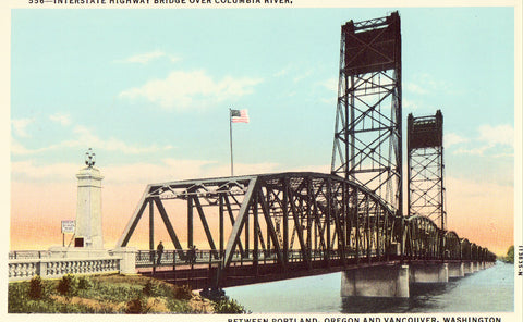 Vintage postcard |nterstate Highway Bridge over Columbia River between Portland,Oregon and Vancouver,Washington