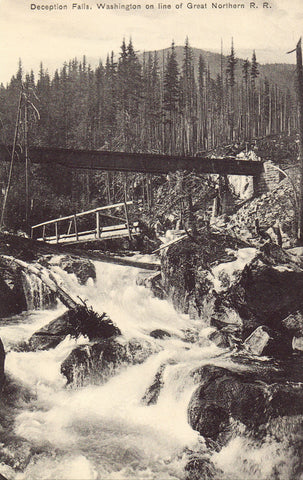 Vintage post card Deception Falls,Washington on Line of Great Northern R.R.