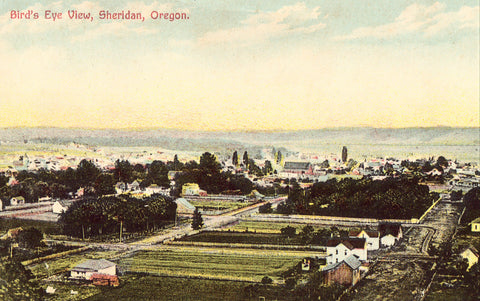 Vintage Oregon postcard Bird's Eye View of Sheridan,Oregon