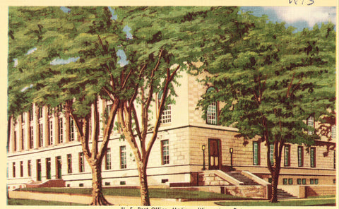 Linen Wisconsin Postcard U.S. Post Office - Madison,Wisconsin
