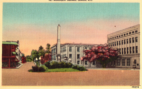 Linen North Carolina postcard Monument Square - Lenoir,North Carolina