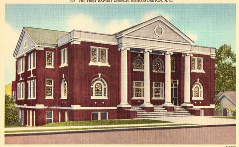 Linen North Carolina Postcard The First Baptist Church - Rutherfordton,North Carolina