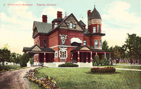 Vintage postcard front Governors Mansion - Topeka,Kansas