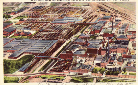 Vintage postcard - Aeroplane View,showing Stock Yards and Packing Houses - Fort Worth,Texas