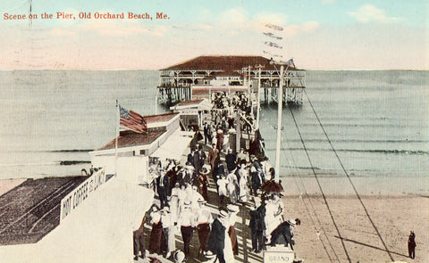 Vintage postcard Scene on The Pier - Old Orchard Beach,Maine