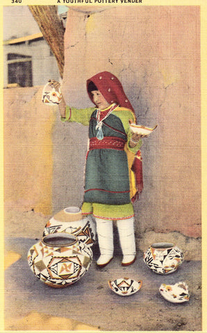 Linen Postcard - A Youthful Pottery Vendor - New Mexico