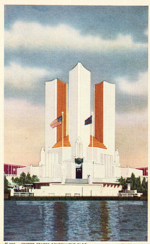 Linen postcard United State Government Building - 1933 Chicago World's Fair