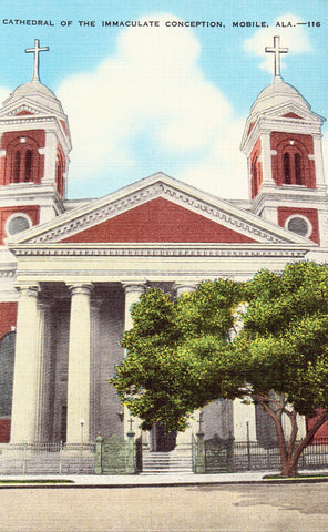 Linen postcard Cathedral of The Immaculate Conception - Mobile,Alabama