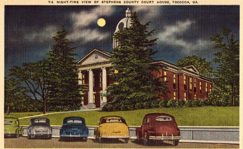 Linen post card Night Time View of Stephens County Court House - Tocccoa,Georgia