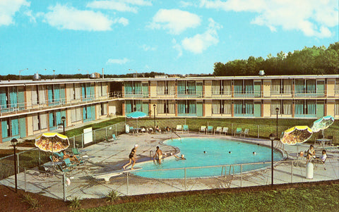 Vintage postcard Swimming Pool,Holiday Inn  of Newark - Newark,Delaware