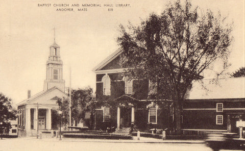 Vintage postcard Baptist Church and Memorial Hall Library - Andover,Massachusetts