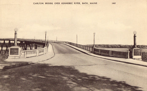 Vintage postcard Carlton Bridge over Kennebec River - Bath,Maine