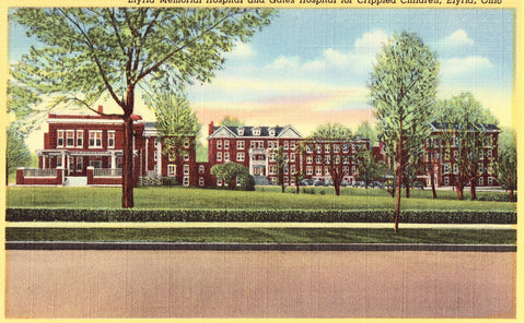 Linen Ohio postcard Elyria Memorial Hospital and Gates Hospital for Crippled Children - Elyria,Ohio