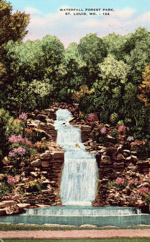 Linen postcard Waterfall,Forest Park - St. Louis,Missouri