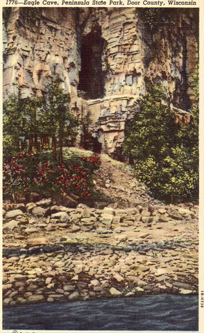 Linen postcard Eagle Cave,Peninsula State Park - Door County,Wisconsin