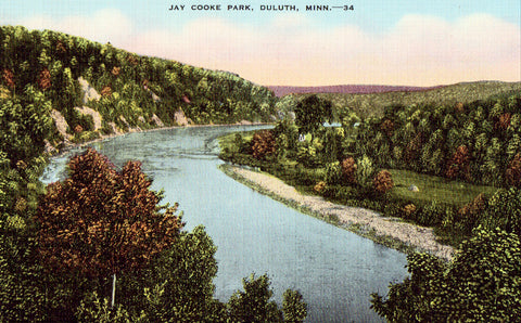 Linen postcard View in Jay Cooke Park - Duluth,Minnesota